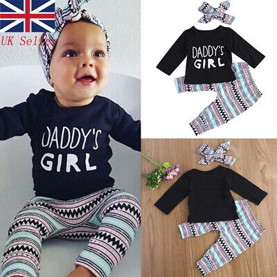 Toddler Baby Girls Clothes Tops Tee T-shirts + Long Pants Kids Casual Outfit Set