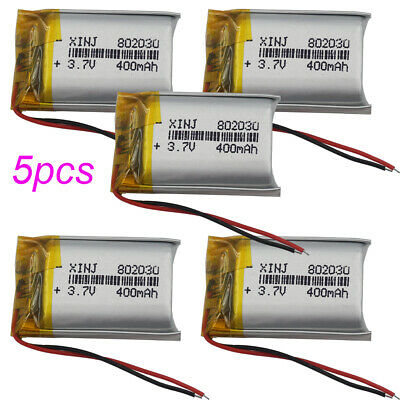 5pcs 3.7V 400mAh LiPo Polymer Battery Li-ion For Mp3 watches Camera GPS 802030