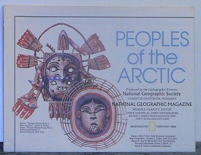 Vintage 1983 National Geographic Map of the Peoples of the Arctic