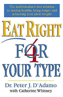 """""""VERY GOOD"""" Eat Right 4 Your Type, D'Adamo, Dr Peter, Whitney, Catherine, Book"""
