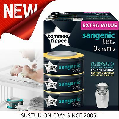 Tommee Tippee Sangenic Tec Nappy Disposal Refill Cassettes x3│Hygiene Protection