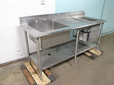 HEAVY DUTY COMMERCIAL SINGLE BASIN  PREP SINK w/REFRIGERATED CHILLER WELL