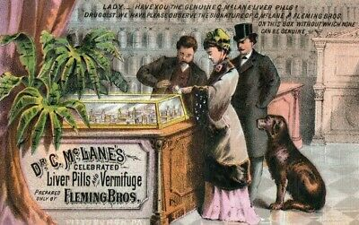 1880's FAB Drug Store Inside View Quack Medicine Display Dr. C. Trade Card P141
