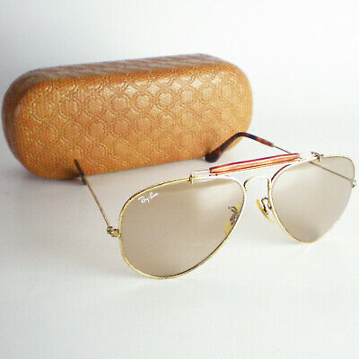 c69651e928 Vintage Ray Ban B L OUTDOORSMAN CHANGEABLES Sunglasses gold aviator 58mm  brown