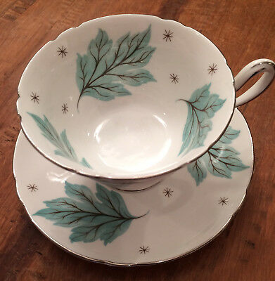 Shelley Drifting Leaves Teacup and Saucer Made in England, #13848, EXCELLENT