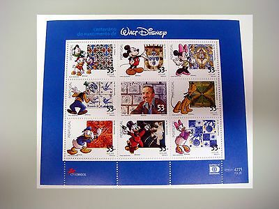 Sale!! Portugal Walt Disney Stamp Sheet 2001 Mnh Mickey Goofy Pluto Donald Duck