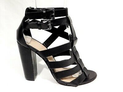 6a5a3168347 BLACK STRAPPY SANDALS 8M Heels Buckle Open Toe Pumps Charlotte Russe