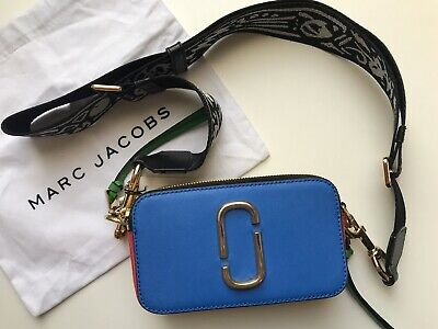 484f4e1d6dd NWT Authentic Marc Jacobs Fluorescent Snapshot Blue Pink Camera Bag 295USD
