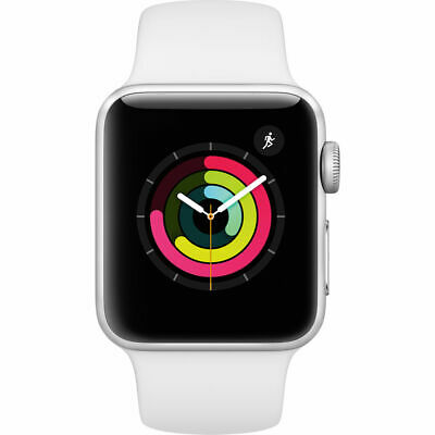 New Apple Watch Series 3 38Mm Silver Case White Sport Band Gps Mtey2Ll/A