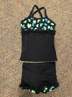 b4cc18e73df4b6 LEXI LUU GIRLS Dance Outfit, Size L, Black, Ruffles and Hearts ...