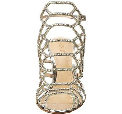 SCHUTZ Juliana Dress Sandal Jeans Light Blue Leather Caged Stiletto Sandals