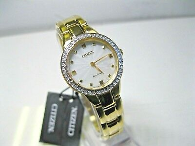 Citizen Women's EX1362-54P Champagne Dial Gold Plated S.S. Eco-Drive Sillouette