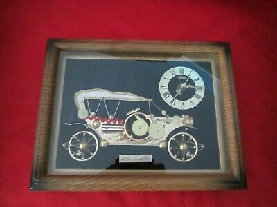 """Wall Clock Made of Watch Parts 1910 Touring Car Linden Framed Picture 10x8""""Japan"""