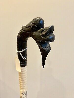 Antique Chinese Scrimshaw Wood Carved Dragon Head Walking Stick Cane Beautiful!