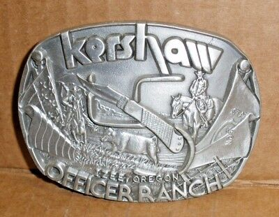 Vintage Kershaw Officer Ranch Pewter Numbered Edition  Belt Buckle #25348