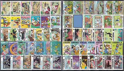 WALT DISNEY CARTOON STAMPS Collection packet of 65 Different Stamps MNH