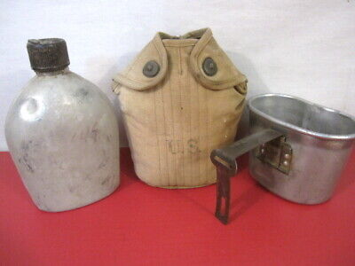 WWII US Army M1910 Dismounted Canteen, Cup & Early Khaki Cover Dated 1941 & 1945