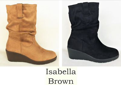 New Isabella Brown Slouch wedge boots in soft micro fibre - Isabella Brown Lacey