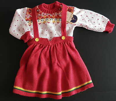 VINTAGE 1960's BABY GIRL'S KNITTED JUMPER & SKIRT SET ~ MADE IN FRANCE with TAGS