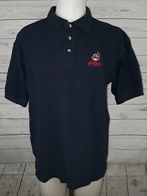 c61ad2bf Majestic Cleveland Indians Chief Wahoo Embroidered S/S Polo Golf Shirt Mens  L
