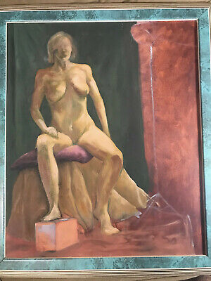 "Large ""Female Nude Study"" Oil On Canvas Painting - Signed And Framed"