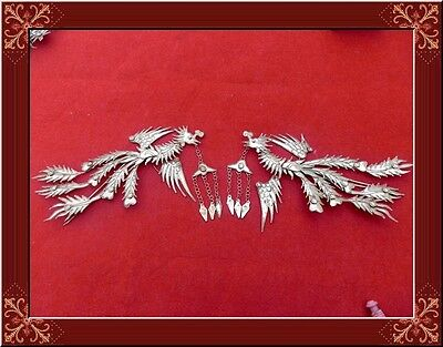 Vintage Style Handmade Miao Silver Painted Hairpin Headdress 1 Pair