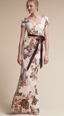 b66aaf39cea9 New Anthropologie BHLDN Adrianna Papell Claret Maxi Dress Floral Wedding 4  $220