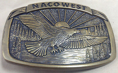 Eagle Belt Buckle Nacowest Sunrise Brass VINTAGE 1981