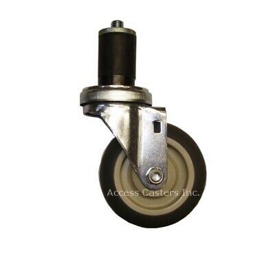 """5EXTPS-74 5"""" Swivel Caster with Gray TPR Wheel, 1.030"""" - 1.140"""" Expansion Stem"""