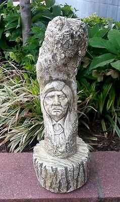 American Indian Native American On Tree Trunk Chief Statue Sculpture