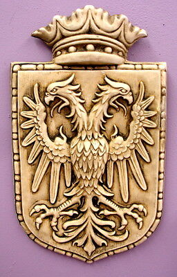 Vintage Shield Medieval Wall Plaque Decor Coat of Arms Double Eagle Crown
