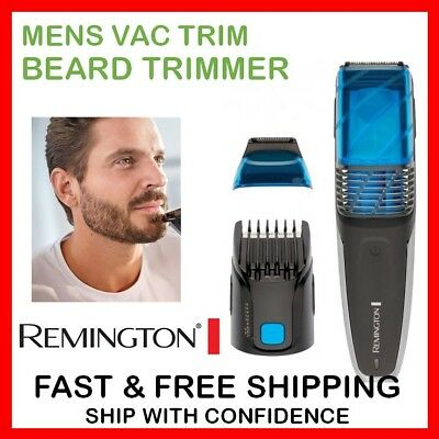 Mens Cordless Beard Trimmer VACUUM TRIMMER Mustache Hair Shaver Facial Groomer
