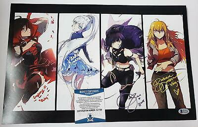 RWBY Cast signed 11x17 Photo Rooster Teeth Ruby Yang Blake Weiss Beckett