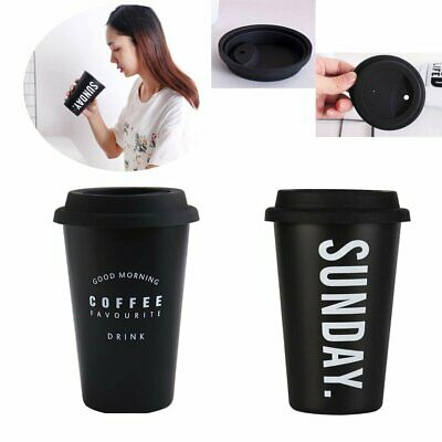 Outdoor Coffee Mug Cup Drinking Stainless Steel Reusable Coffee Cup Lid 450ml SQ