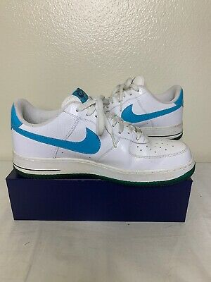 394b49798ae Nike Air Force One AF1  82 Basketball Shoes Mens Sz 12 White Blue Checks  Green