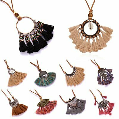 Vintage Boho Tassel Fringe Pendant Necklace Leather Rope Long Women Jewelry Gift
