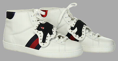 408b17fb7cc Gucci Men s Ace Removable Patch Sneaker Panther High Tops White Shoes 9 G  10 US
