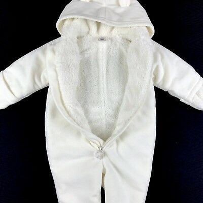 Baby Gap Ivory Fleece Lined Quilted Snowsuit Bunting 3-6 Months Clothing, Shoes & Accessories