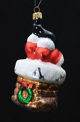 "Radko Hand Painted Glass Ornament ""Bottoms Up"" Santa Claus Stuck in Chimney"