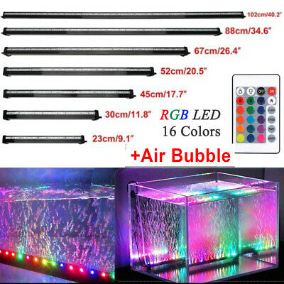 New LED Fish Tank Air Bubble RGB Light Underwater Submersible Aquarium Bar Lamp