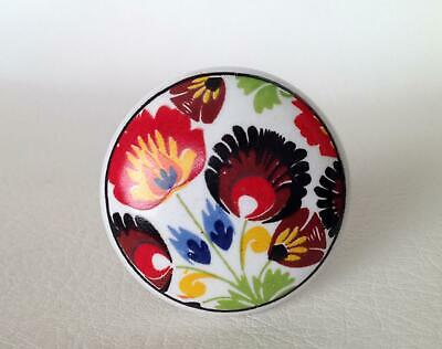 Colorful Flowers on White Porcelain Cabinet Knobs Pulls Decorative Hardware