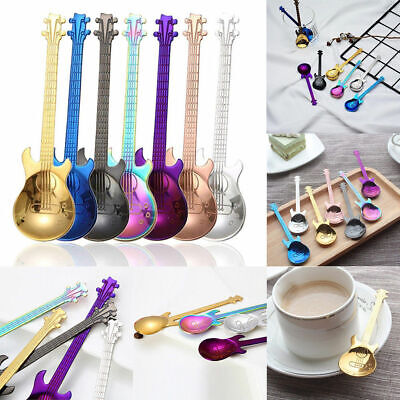 Stainless Steel Guitar 7pcs Rainbow Coffee Spoon Ice Cream Tea Spoon Flatware UK