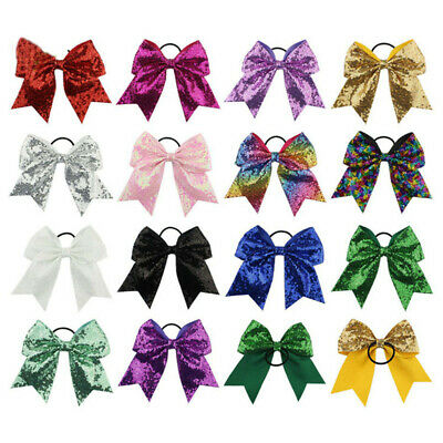 Girls 8 Inch Full Sequin Bling Cheer Hair Bow with Elastic Band Cheerleading