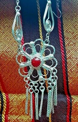 Charm Necklace Vintage Sterling Silver African Flower Chain Handmade Coral Bead