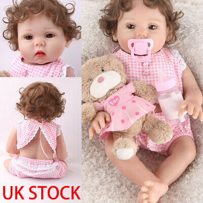 "Reborn Baby Girl Dolls 16"" Full Body  Silicone Vinyl Handmade Xmas Gifts Doll"