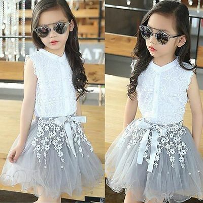 2PCS Cute Kids Baby Girl Lace Shirt Tops+Tutu Skirt Dress Outfits Clothes Set JW