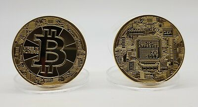 2 x New Gold Plated Bitcoin Physical Collectible Coin BTC 1 Ounce 40mm