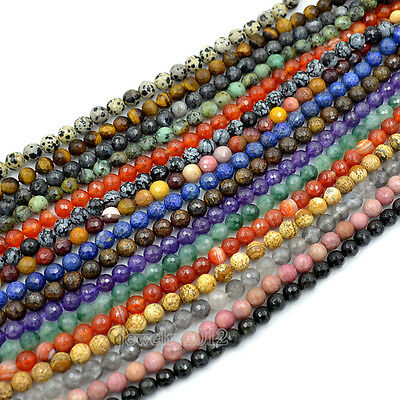 """Faceted Natural Gemstone Round Loose Beads 15"""" 4mm 6mm 8mm 10mm 12mm beads"""
