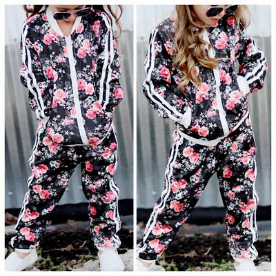 Kids Girls Floral Jackets Tracksuits Sports Suits Outwear With Long Pants Outfit