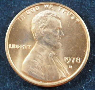 1978 D Lincoln Memorial Cent Penny (BU) Brilliant Uncirculated US Coin